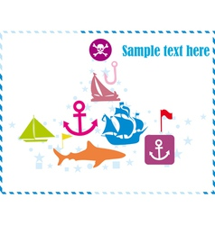 Postcard with pirates set vector image
