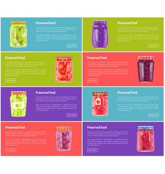 Preserved food poster and jars vector
