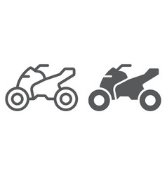 Quadbike line and glyph icon bike and extreme vector