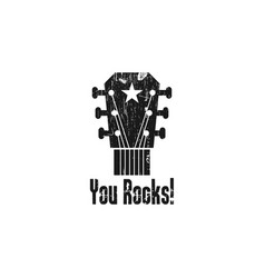 rock guitar logo design template vector image