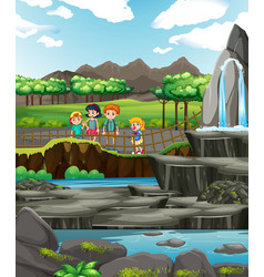 scene with children at park vector image