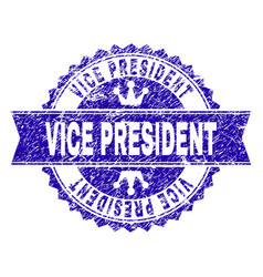 Scratched textured vice president stamp seal with vector