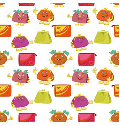 seamless pattern cartoon purses vector image