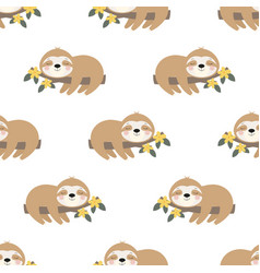 seamless pattern cute sloth on branch vector image