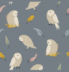 Seamless pattern with cute owls and feathers vector