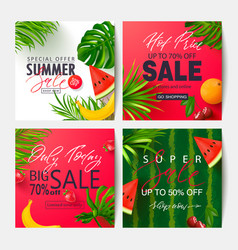 set summer sale banner templates with tropical vector image