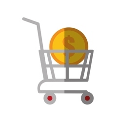 shopping cart online coin dollar color shadow vector image