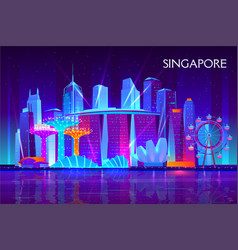 Singapore night cityscape neon background vector
