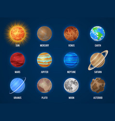 Solar system cartoon planets cosmos planet galaxy vector