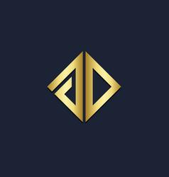 square line shape company gold logo vector image
