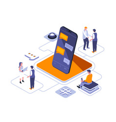 Stay connected isometric landing page vector