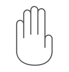 stop hand thin line icon warning and palm stop vector image