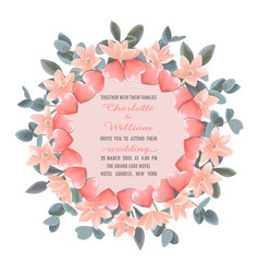 template with round frame from hearts and pink vector image