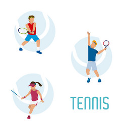 tennis players cartoons vector image