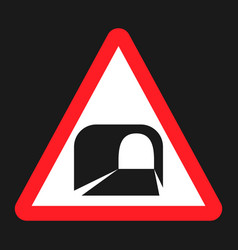 Tunnel ahead sign flat icon vector