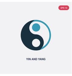 two color yin and yang icon from shapes and vector image