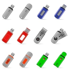 Usb flash memory icons vector