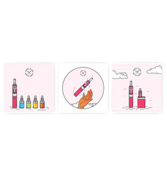 Vape devices set with e-cigarettes vector