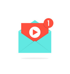 Video notification button in letter vector