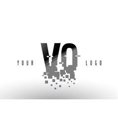 Vq v q pixel letter logo with digital shattered vector