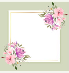 Watercolor flowers frame with text space design vector