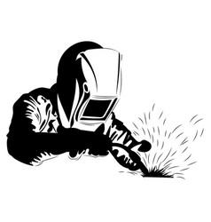 Welder welds metal black and white vector