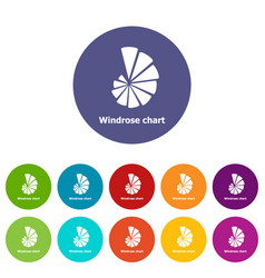 Windrose chart icons set color vector