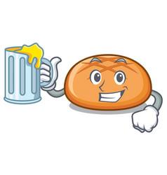with juice hamburger bun mascot cartoon vector image