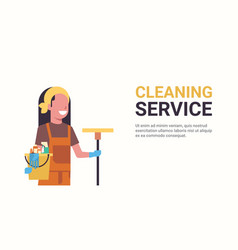 woman janitor holding bucket with tools and mop vector image