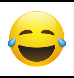 Yellow smiling emoticon with closed eyes vector
