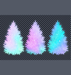 collection of christmas spruce trees silhouettes vector image vector image
