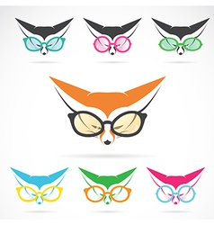 images of fox wearing glasses vector image vector image