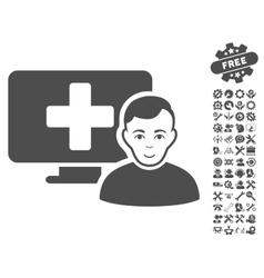 Online medicine icon with tools bonus vector
