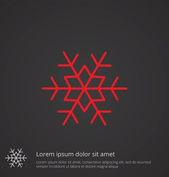 snowflake outline symbol red on dark background vector image vector image