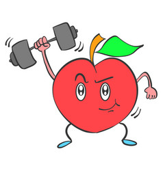Strong apple character collection style vector