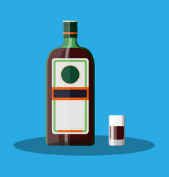 bottle of grass liquor with shot glass vector image vector image