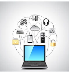 Computer network laptop and colorful icons vector image