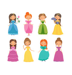 fairy tale set of beautiful princesses vector image vector image