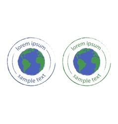 Grunge scratched planet earth logo green blue vector