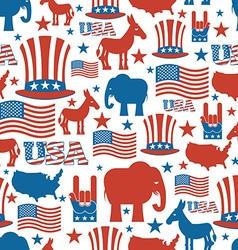 American seamless pattern USA Election Symbols vector image vector image