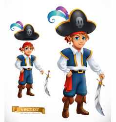 boy pirate 3d icon vector image