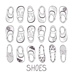 Cute collection of little girls shoes vector image vector image
