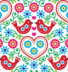 Folk art seamless pattern with flowers and birds vector image