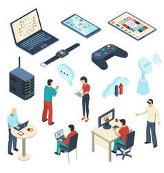 internet of things isometric set vector image
