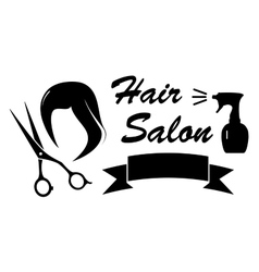 beauty symbol with woman hair and scissors vector image