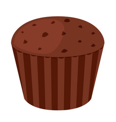 chocolate cupcake dessert in flat style bakery vector image vector image