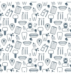 Dental seamless pattern dark blue linear icons vector