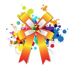 ribbon bow on ink splash vector image vector image