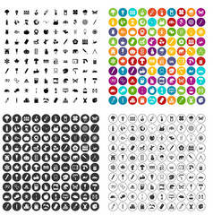 100 eco design icons set variant vector