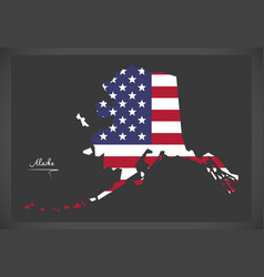 Alaska map with american national flag eps vector